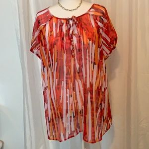 Liz Claiborne Women's Sheer Red/yellow Top Plus 2X